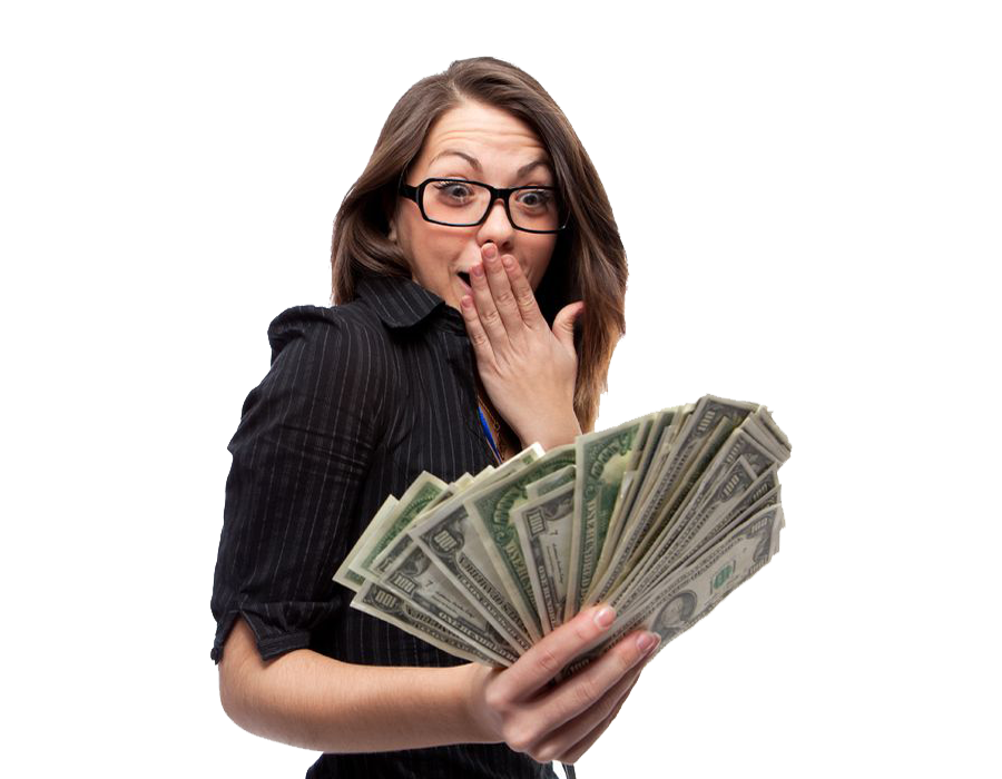 Lady with cash for car